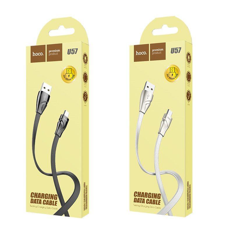 hoco u57 micro usb twisting кабель для зарядки и передачи данных упаковка