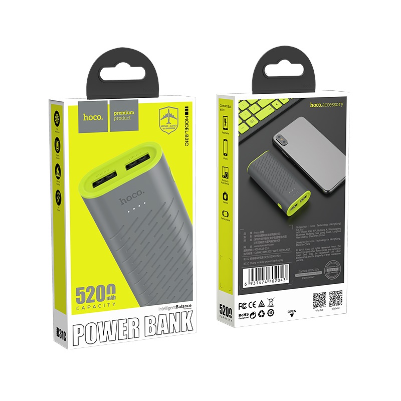 hoco b31c sharp mobile power bank 5200mah gray box