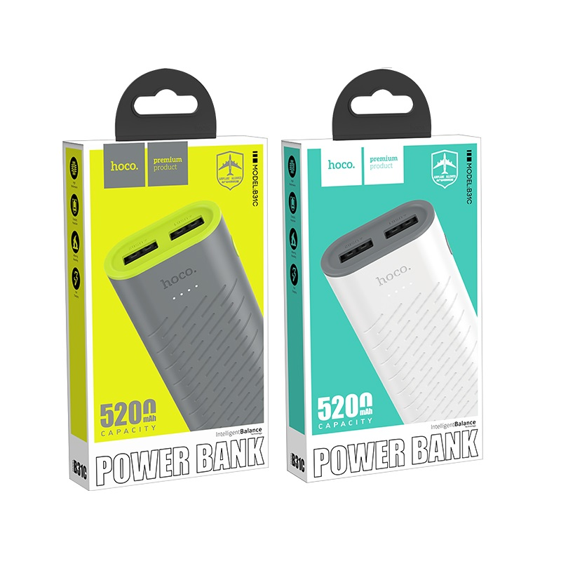 hoco b31c sharp mobile power bank 5200mah package