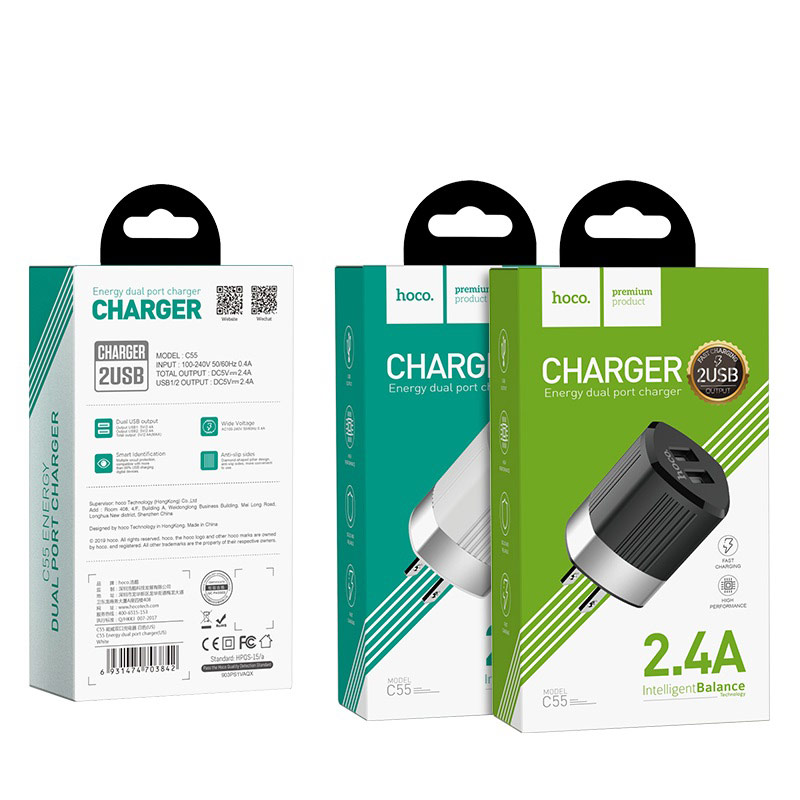 hoco c55 energy dual port charger us package