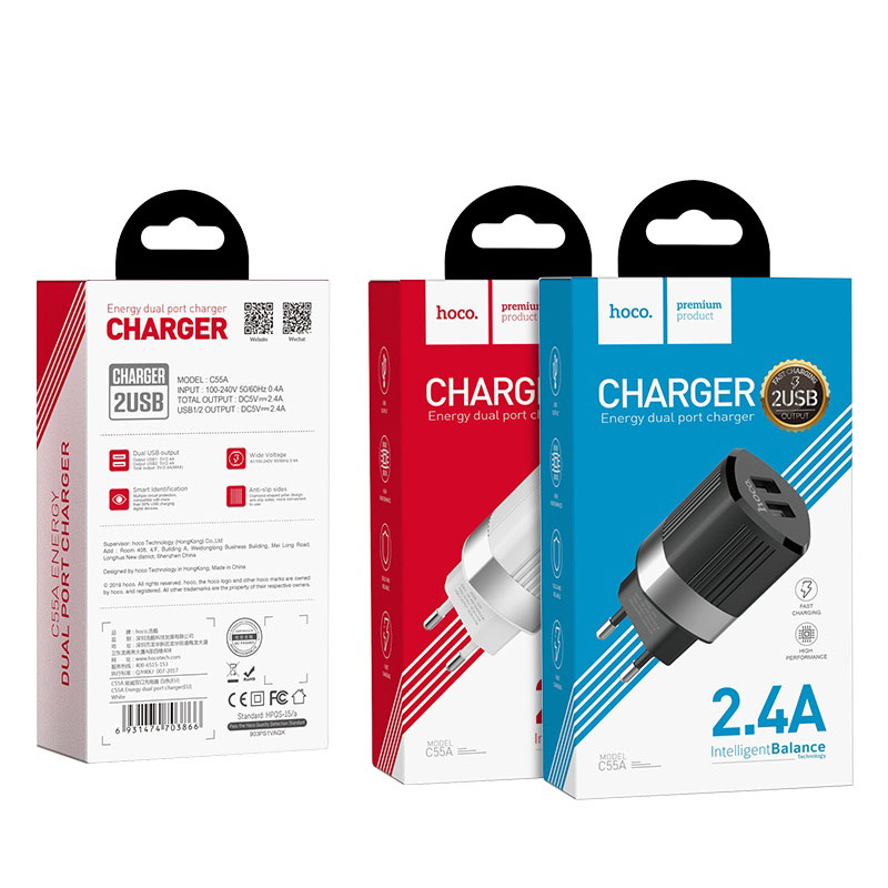 hoco c55a energy dual port charger eu package