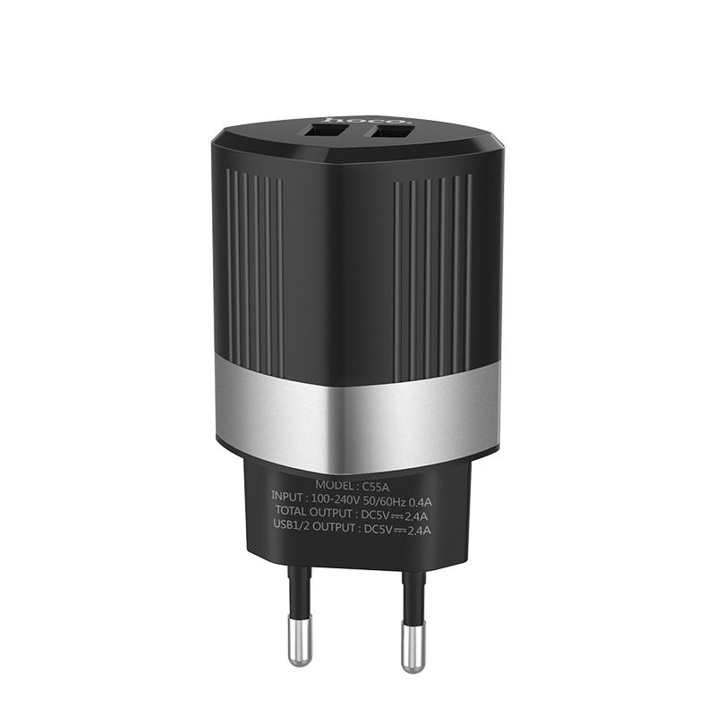 hoco c55a energy dual port charger eu plug