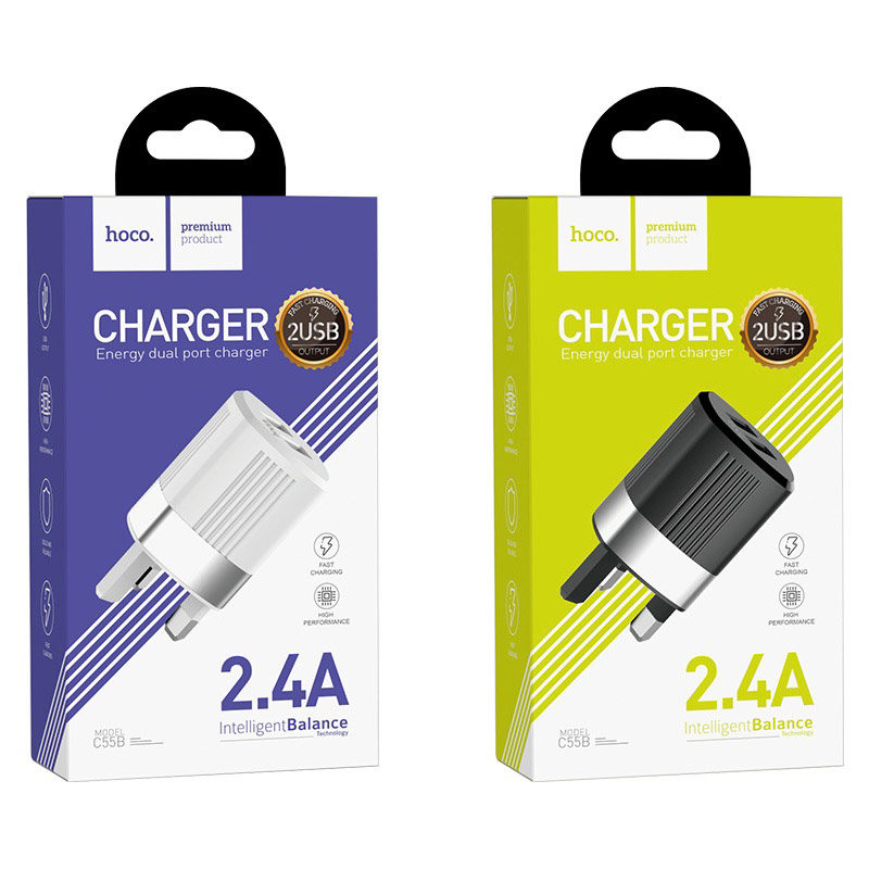 hoco c55b energy dual port charger uk package
