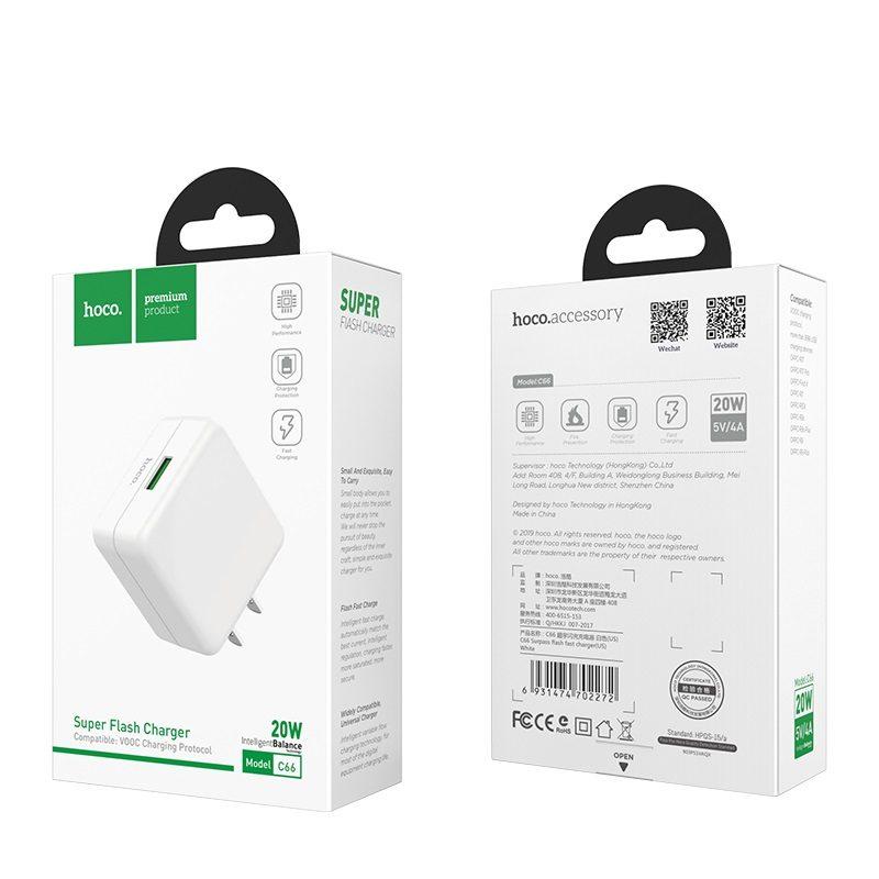 hoco c66 surpass зарядный адаптер для быстрой зарядки us упаковка