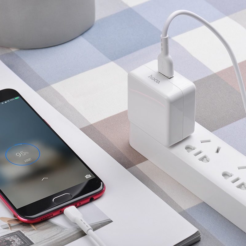 hoco c66 surpass flash fast wall charger us set with micro usb cable charging
