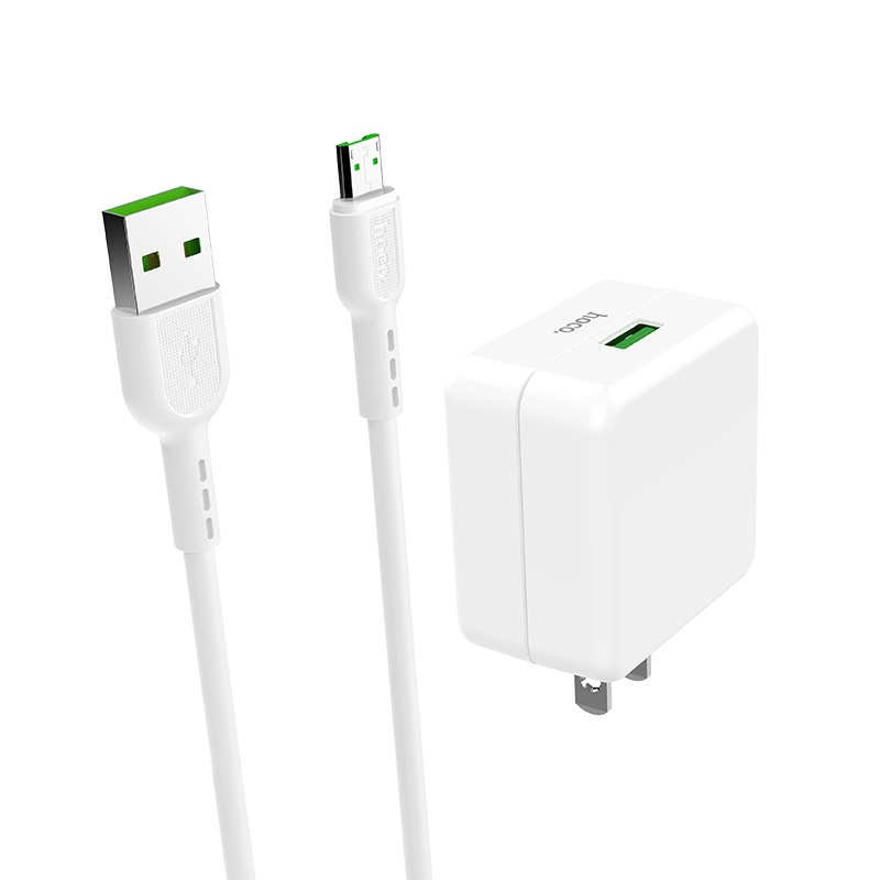 hoco c66 surpass flash fast wall charger us set with micro usb cable connectors