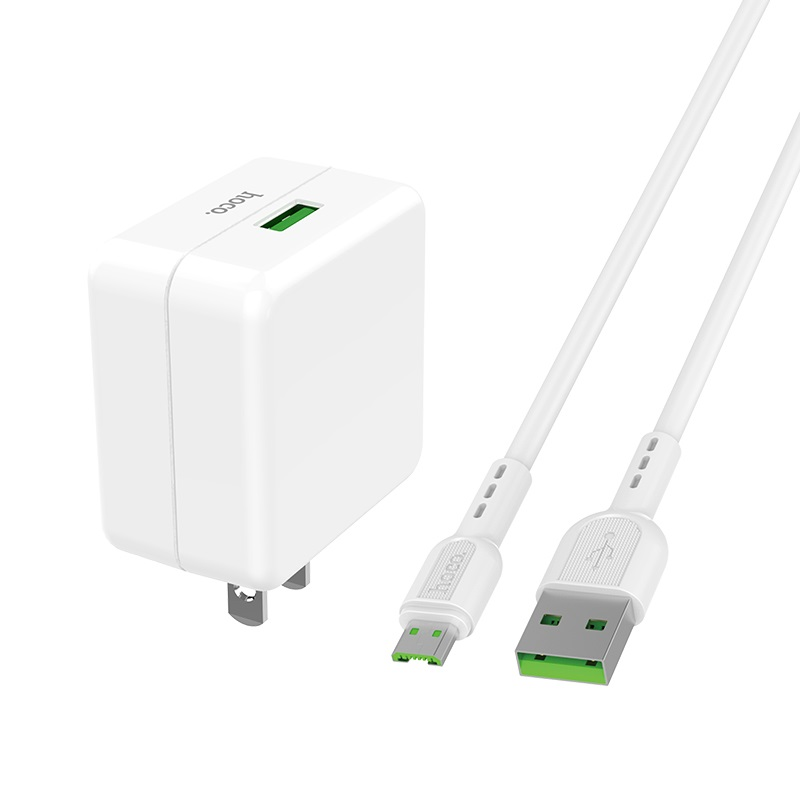 hoco c66 surpass flash fast wall charger us set with micro usb cable kit