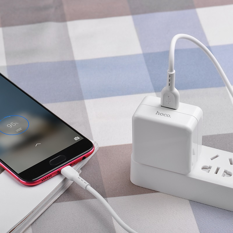 hoco c66 surpass flash fast wall charger us set with micro usb cable phone