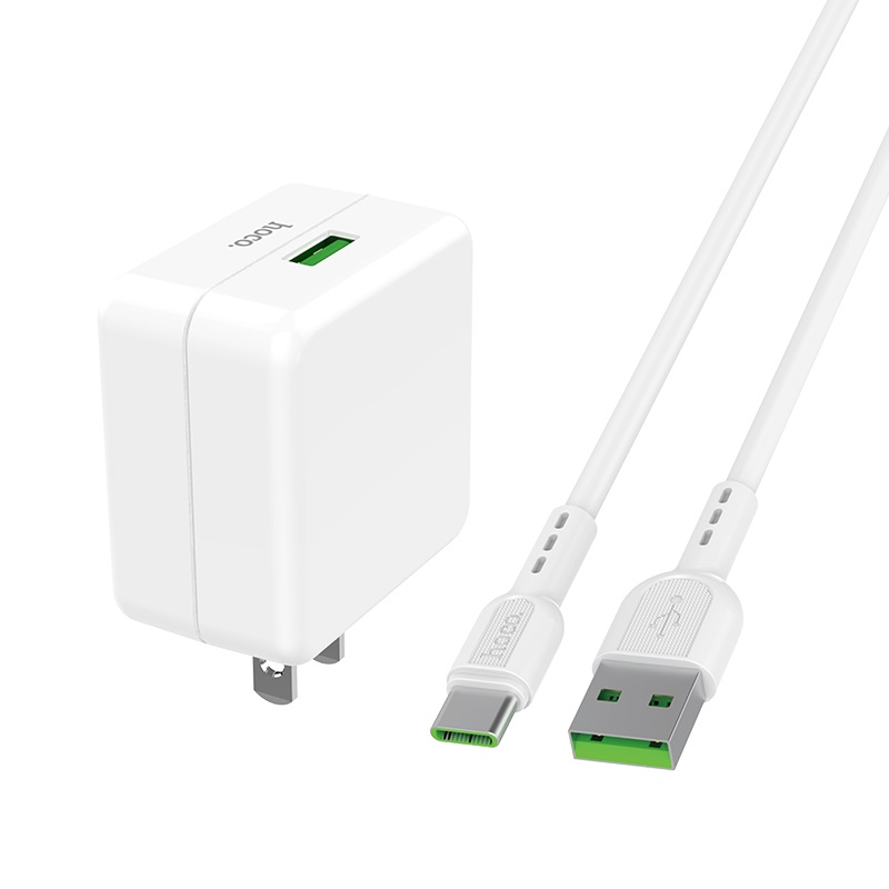 hoco c66 surpass flash fast wall charger us set with type c cable connectors