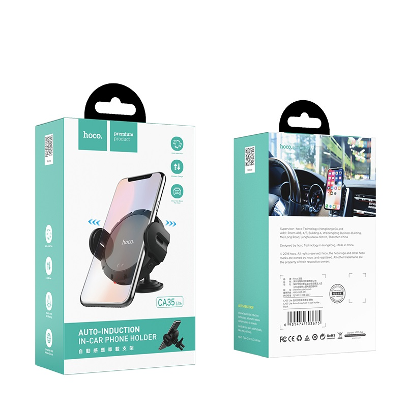 hoco ca35 lite auto induction in car holder package