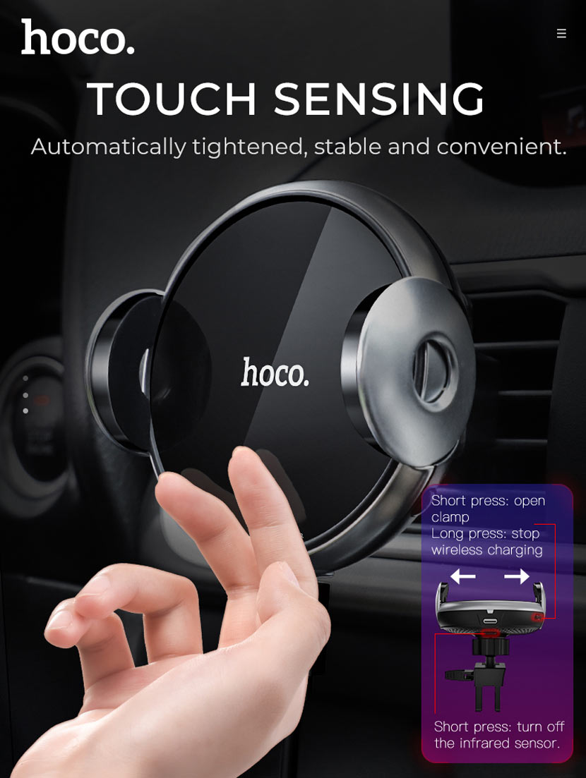 hoco ca48 automatic induction wireless charging in car holder clamp en