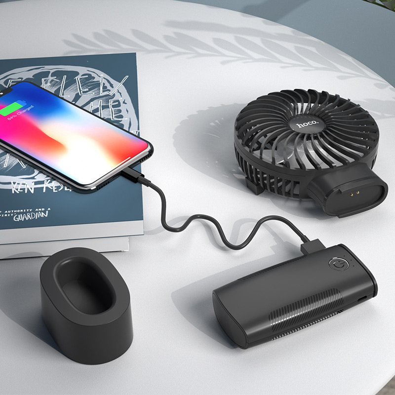 hoco f11 handheld charging fan with built in power bank battery