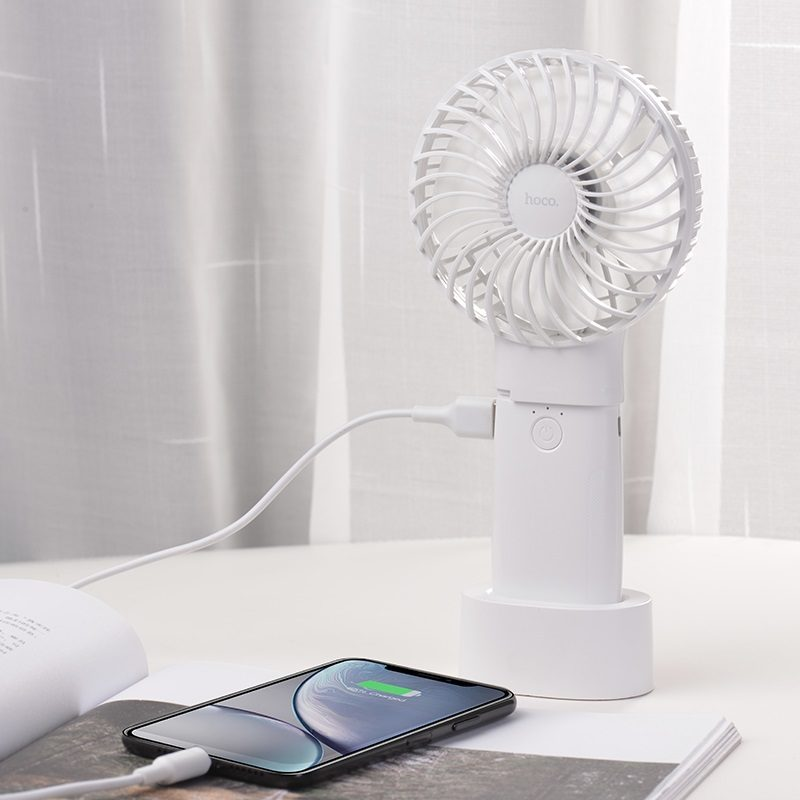 hoco f11 handheld charging fan with built in power bank charger