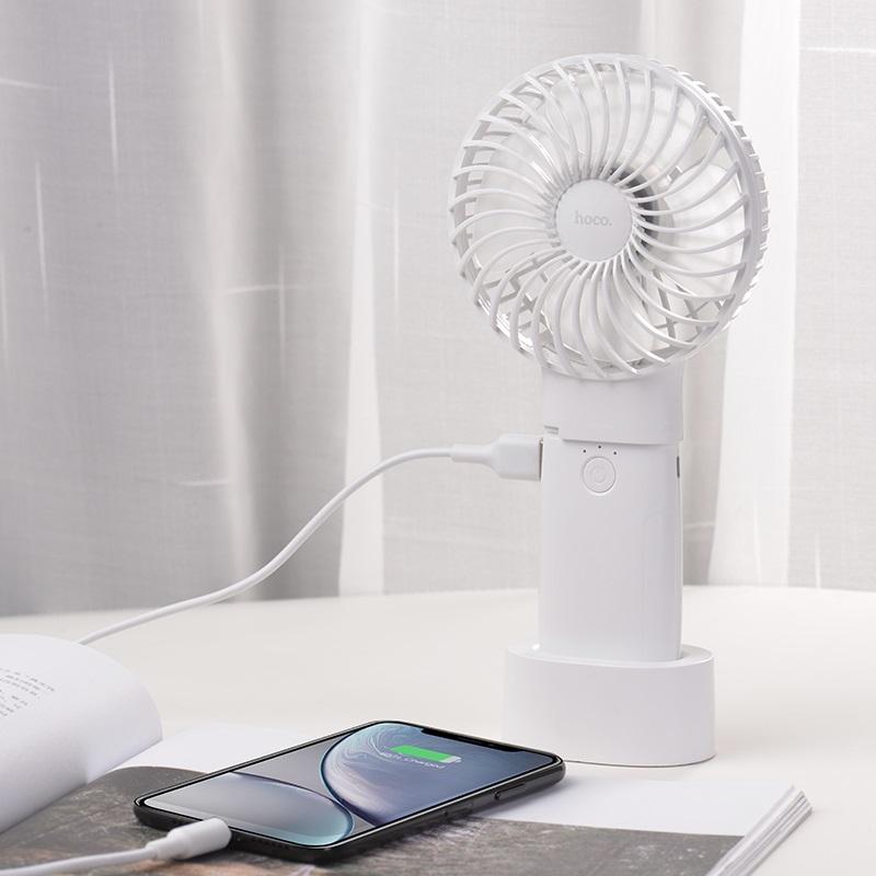 hoco f11 портативный вентилятор с аккумулятором зарядка