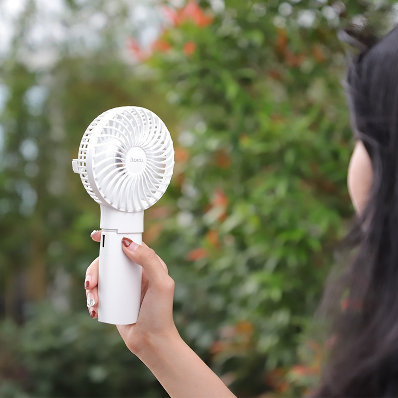 hoco f11 handheld charging fan with built in power bank mini