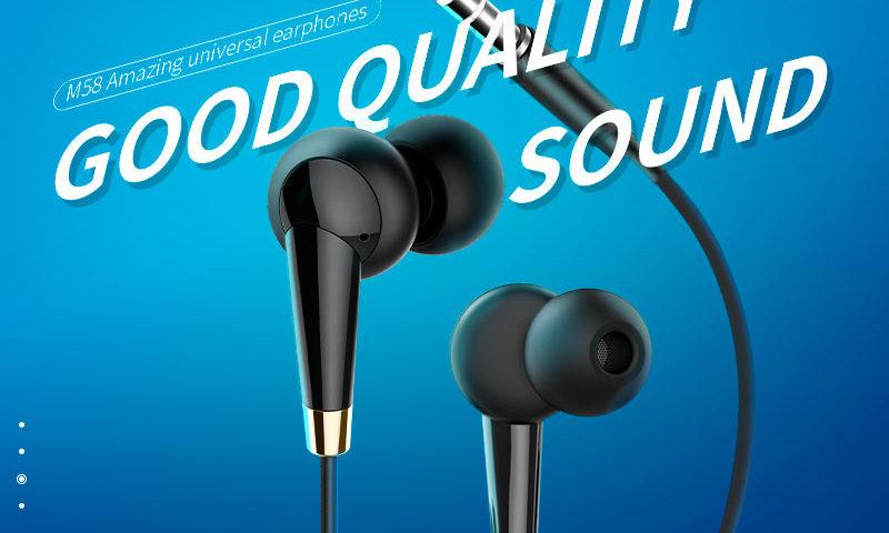 hoco m58 amazing universal earphones with mic banner en
