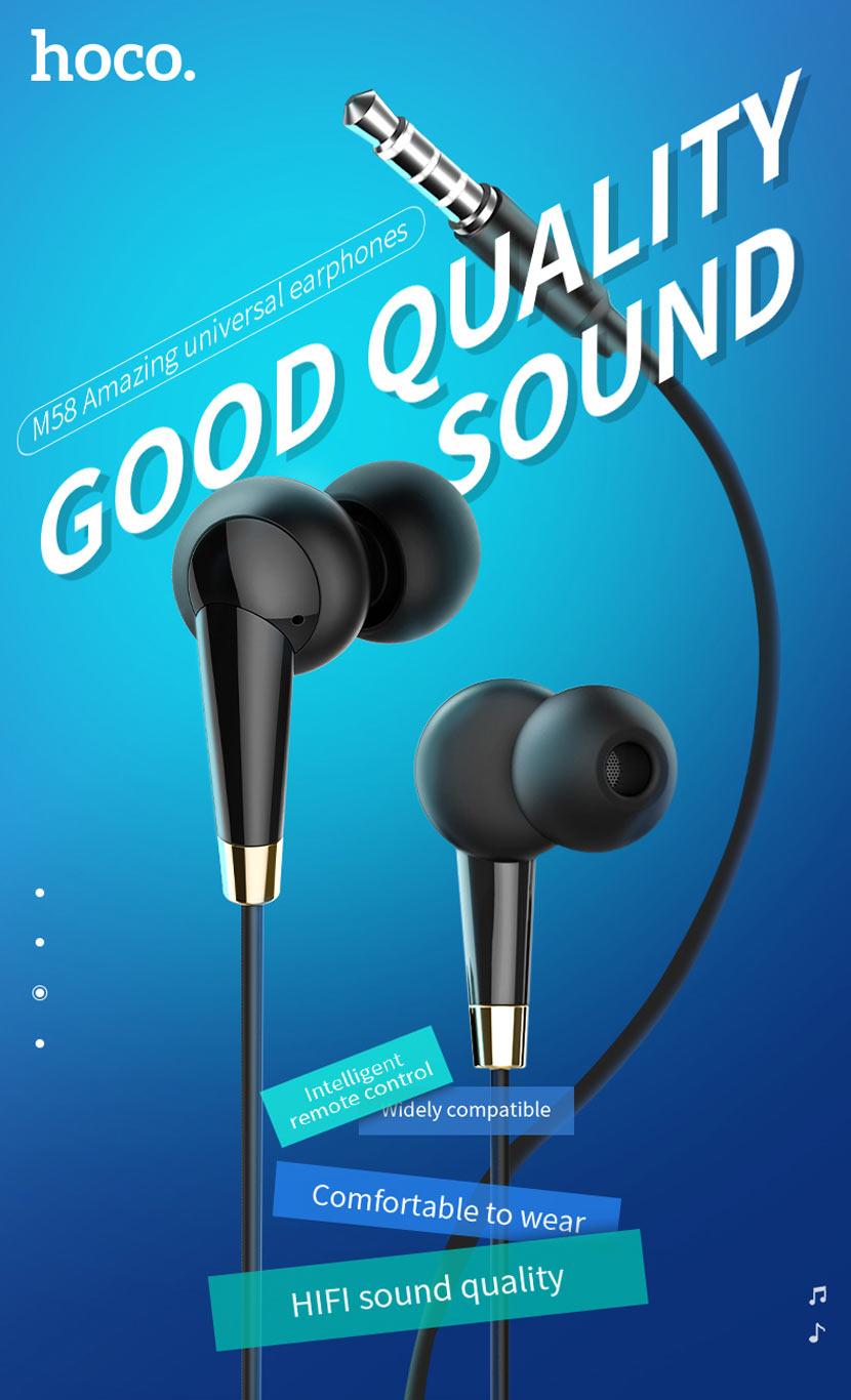 hoco m58 amazing universal earphones with mic main en