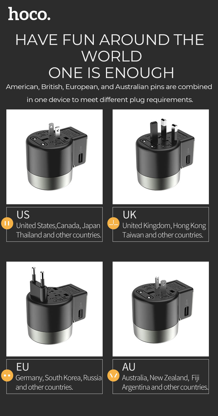 hoco news ac4 dual port rotating charging universal converter plug en
