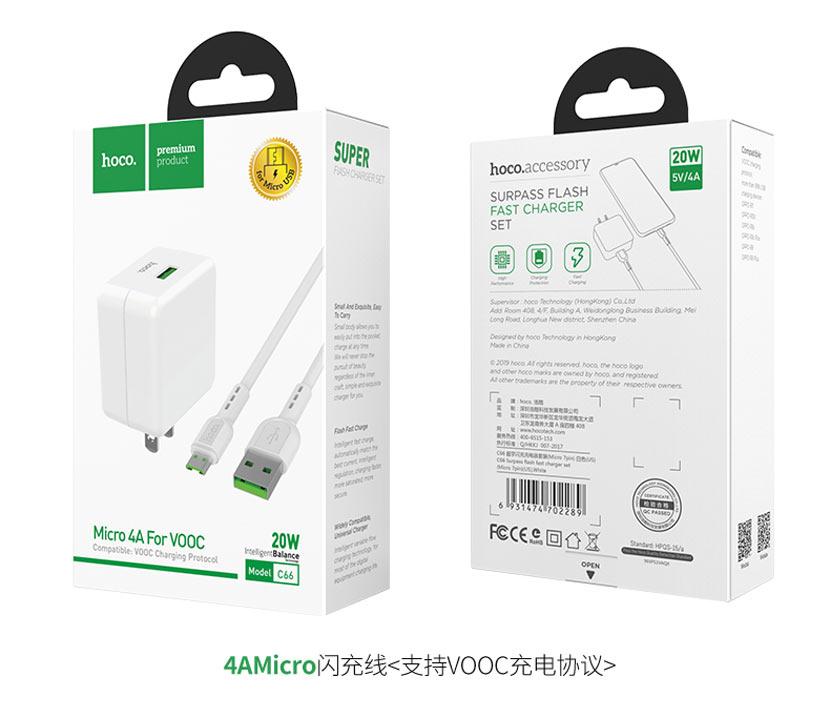 hoco news c66 surpass flash fast charger set micro usb us box cn
