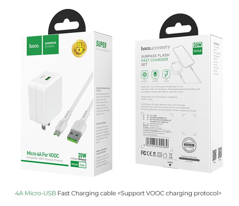 hoco news c66 surpass flash fast charger set micro usb us box en