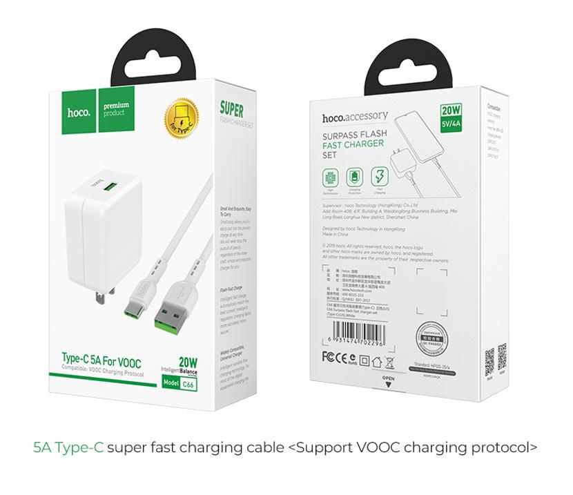 hoco news c66 surpass flash fast charger set type c us set package en