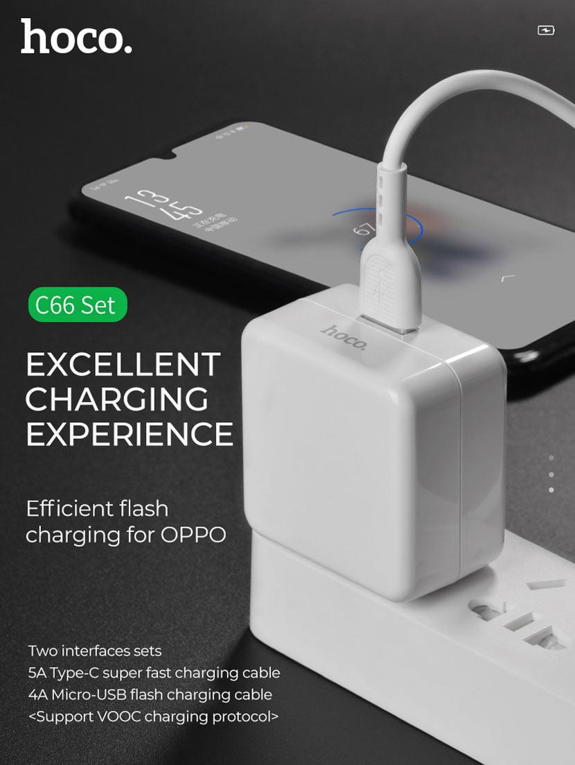 hoco news c66 surpass flash fast charger set type us adapter en