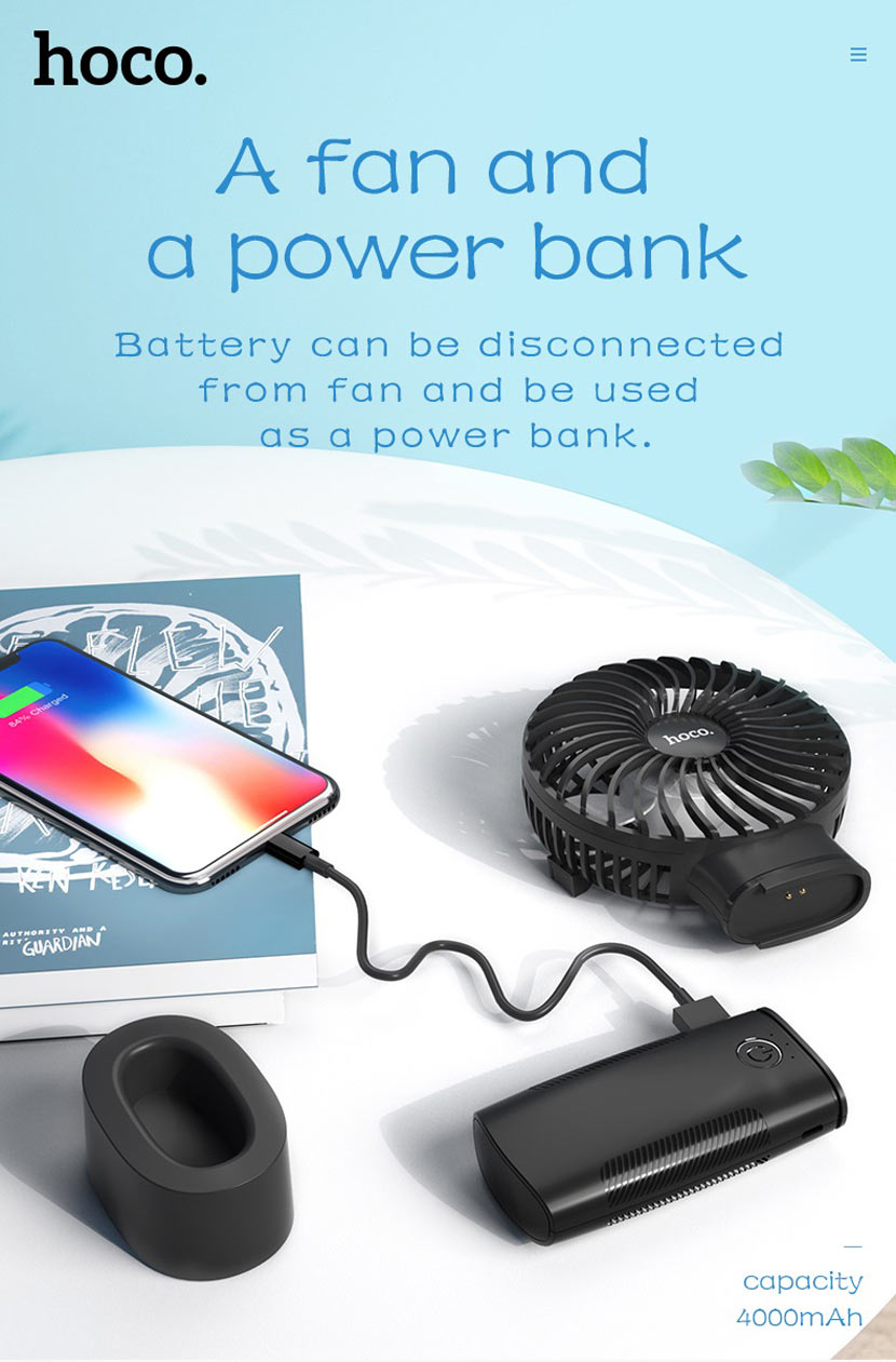 hoco news f11 handheld charging fan power bank en