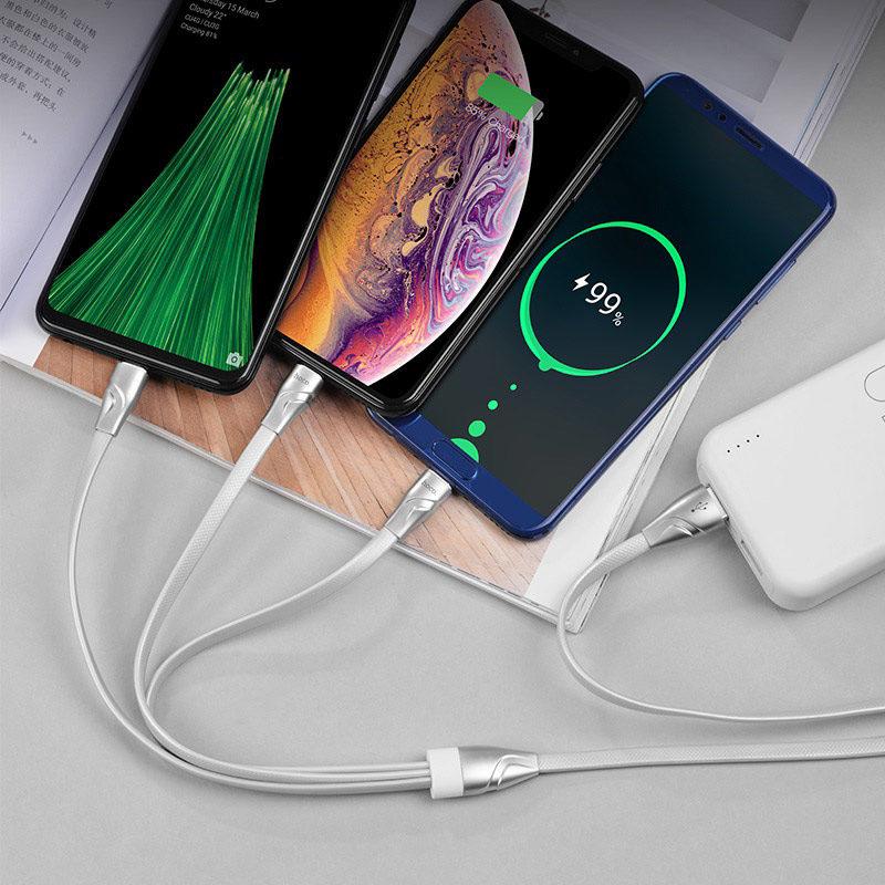 hoco u57 3в1 twisting зарядный кабель lightning micro usb type c зарядник