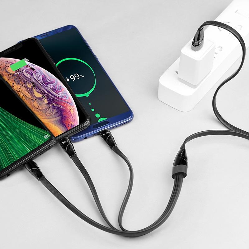 浩酷  u57 一拖三 扭腰充电数据线 lightning micro usb type c 充电器