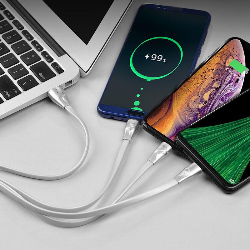 hoco u57 3in1 twisting charging cable lightning micro usb type c phone