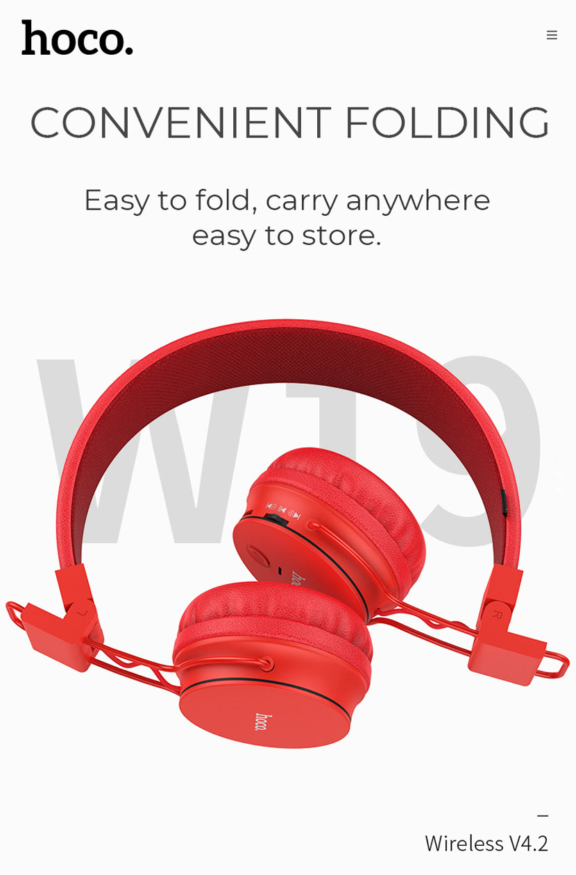 hoco w19 easy move wireless headset foldable en