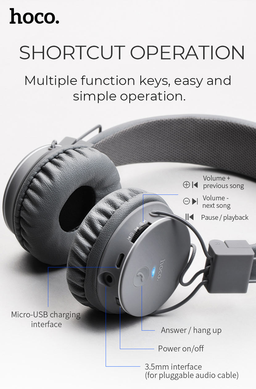 hoco w19 easy move wireless headset soft en