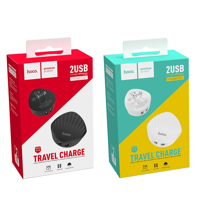 hoco c67 shell dual port wall charger us packages