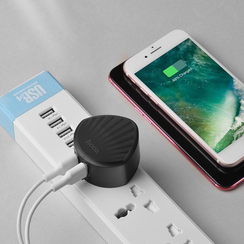 hoco c67 shell зарядный адаптер с двумя usb портами us телефон