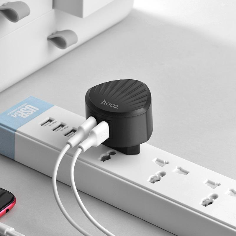 hoco c67a shell dual usb port charger eu plug charging