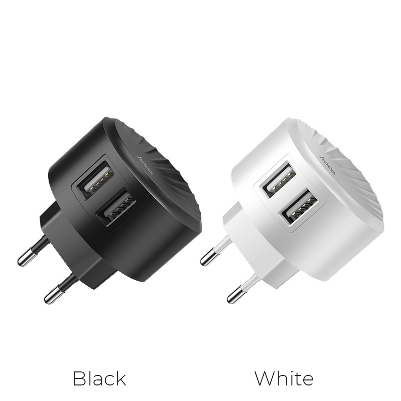 hoco c67a shell dual usb port charger eu plug colors
