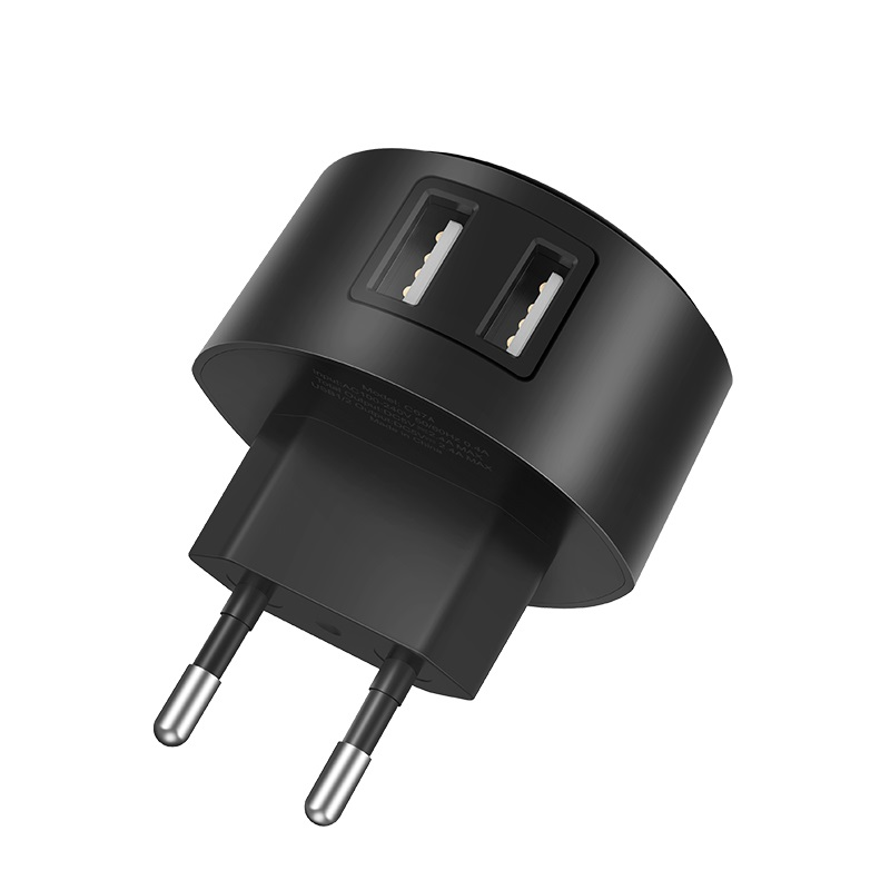hoco c67a shell dual usb port charger eu plug euro