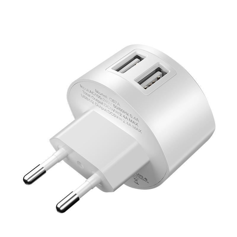 hoco c67a shell dual usb port charger eu plug overview
