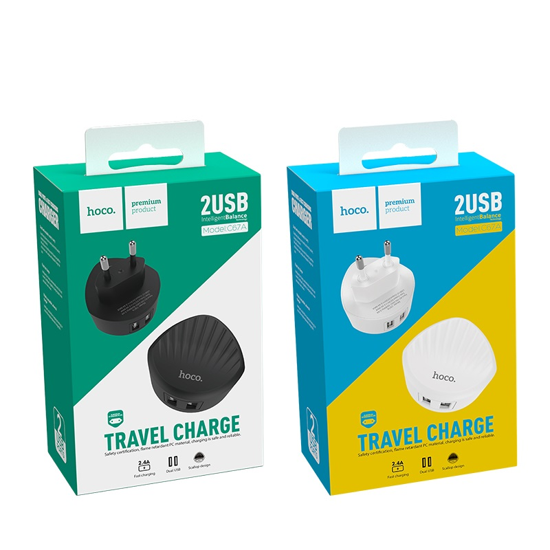 hoco c67a shell dual usb port charger eu plug packages