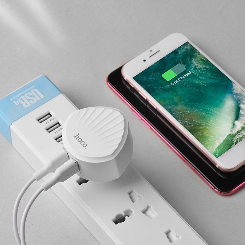 hoco c67a shell dual usb port charger eu plug phone