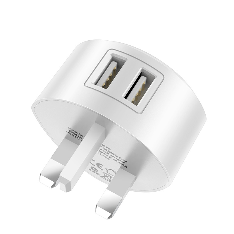 hoco c67b shell dual usb port charger uk plug british