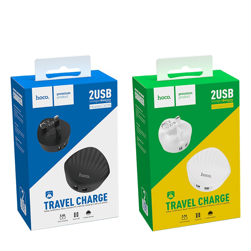 hoco c67b shell dual usb port charger uk plug packages