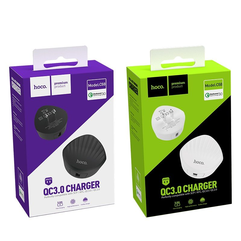 hoco c68 shell single usb port qc30 charger us plug packages
