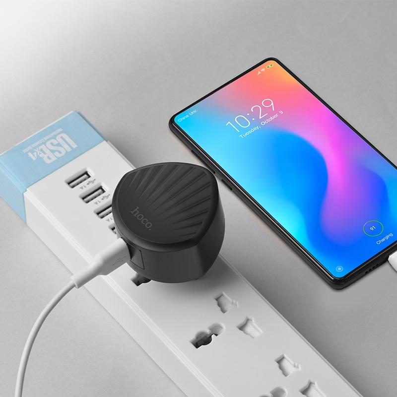 hoco c68a shell single usb port qc30 charger eu plug charging