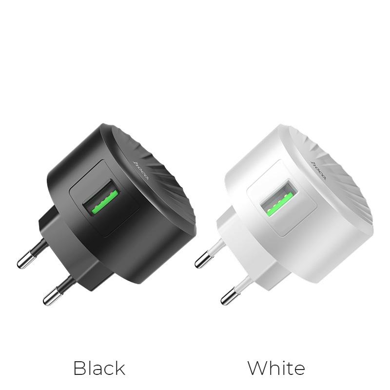 hoco c68a shell single usb port qc30 charger eu plug colors