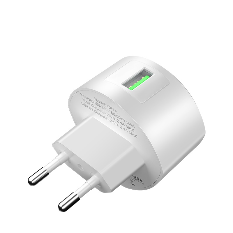 hoco c68a shell single usb port qc30 charger eu plug euro