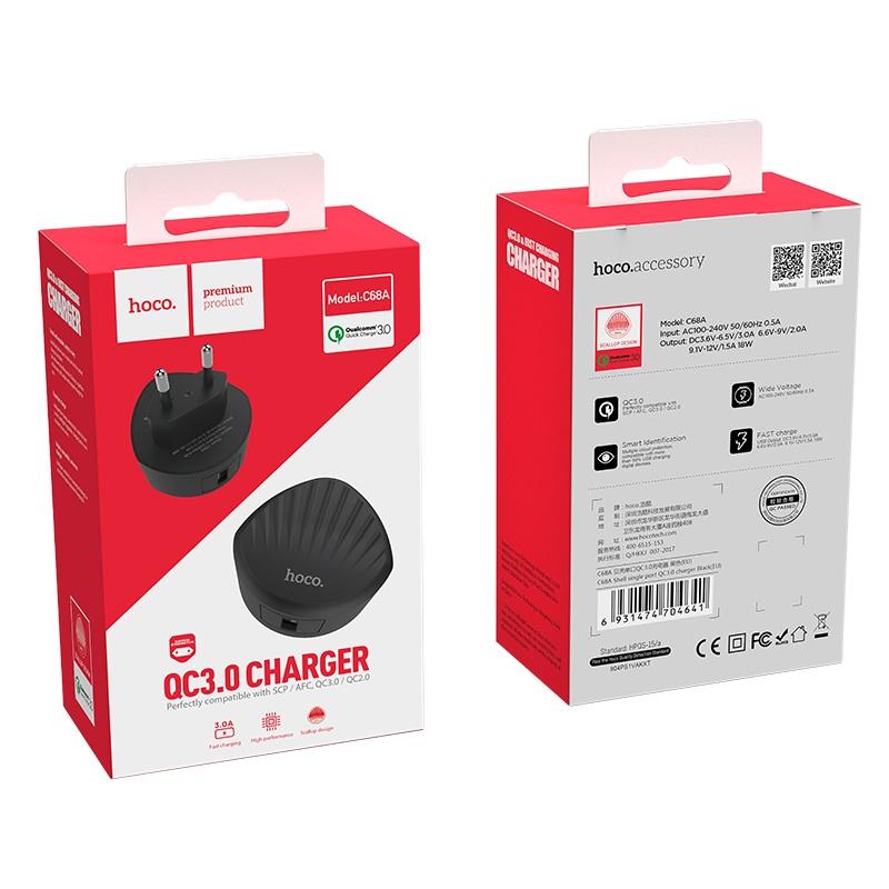 hoco c68a shell single usb port qc30 charger eu plug package