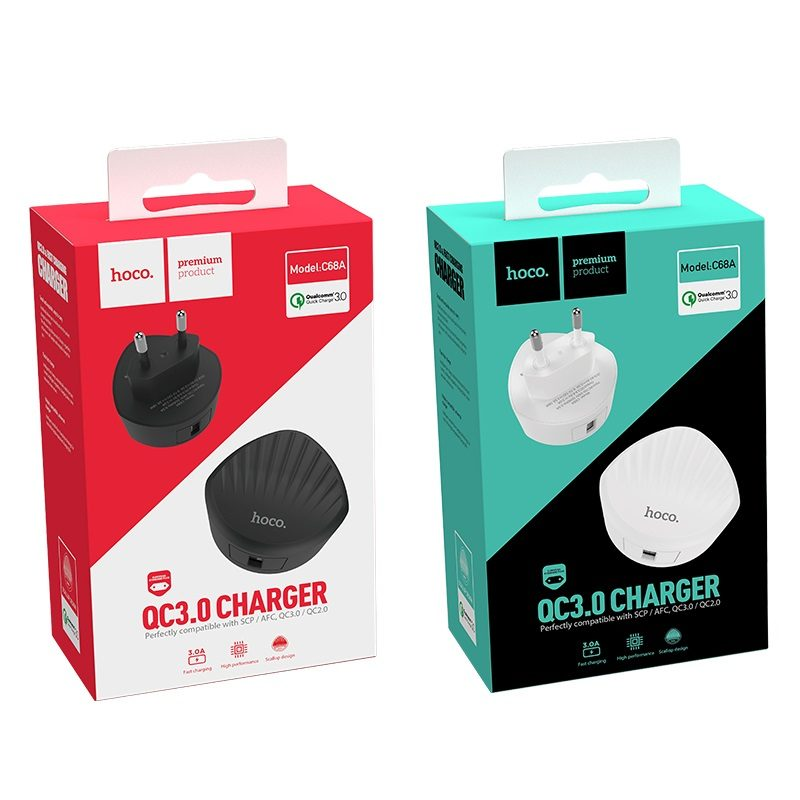 hoco c68a shell single usb port qc30 charger eu plug packages