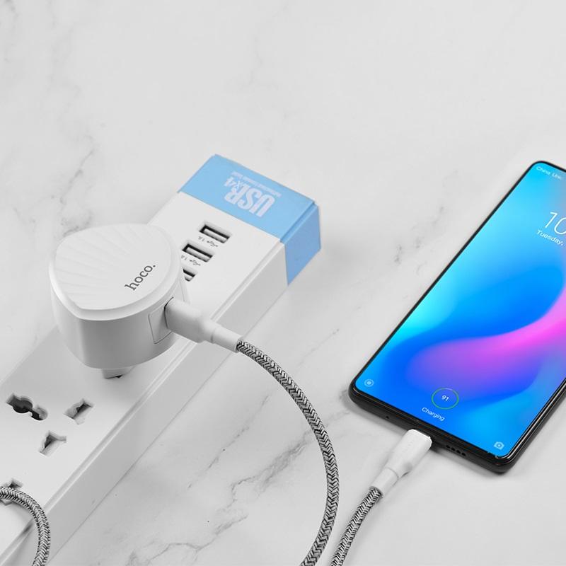 hoco c68a shell single usb port qc30 charger eu plug phone
