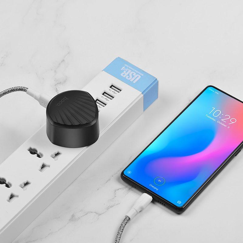 hoco c68b shell single usb port qc30 charger uk plug charging